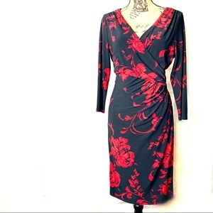 Lauren Ralph Lauren red and black wrap dress